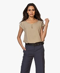 Kyra & Ko Terri Bamboo Blouse with Short Sleeves - Khaki
