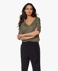 Drykorn Venja Cupro Cropped Sleeve T-shirt - Army