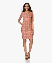 Kyra & Ko Marlijn Textured Jersey Print Dress - Red