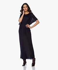 extreme cashmere N°139 Kaftan Cashmere Maxi Jurk - Navy