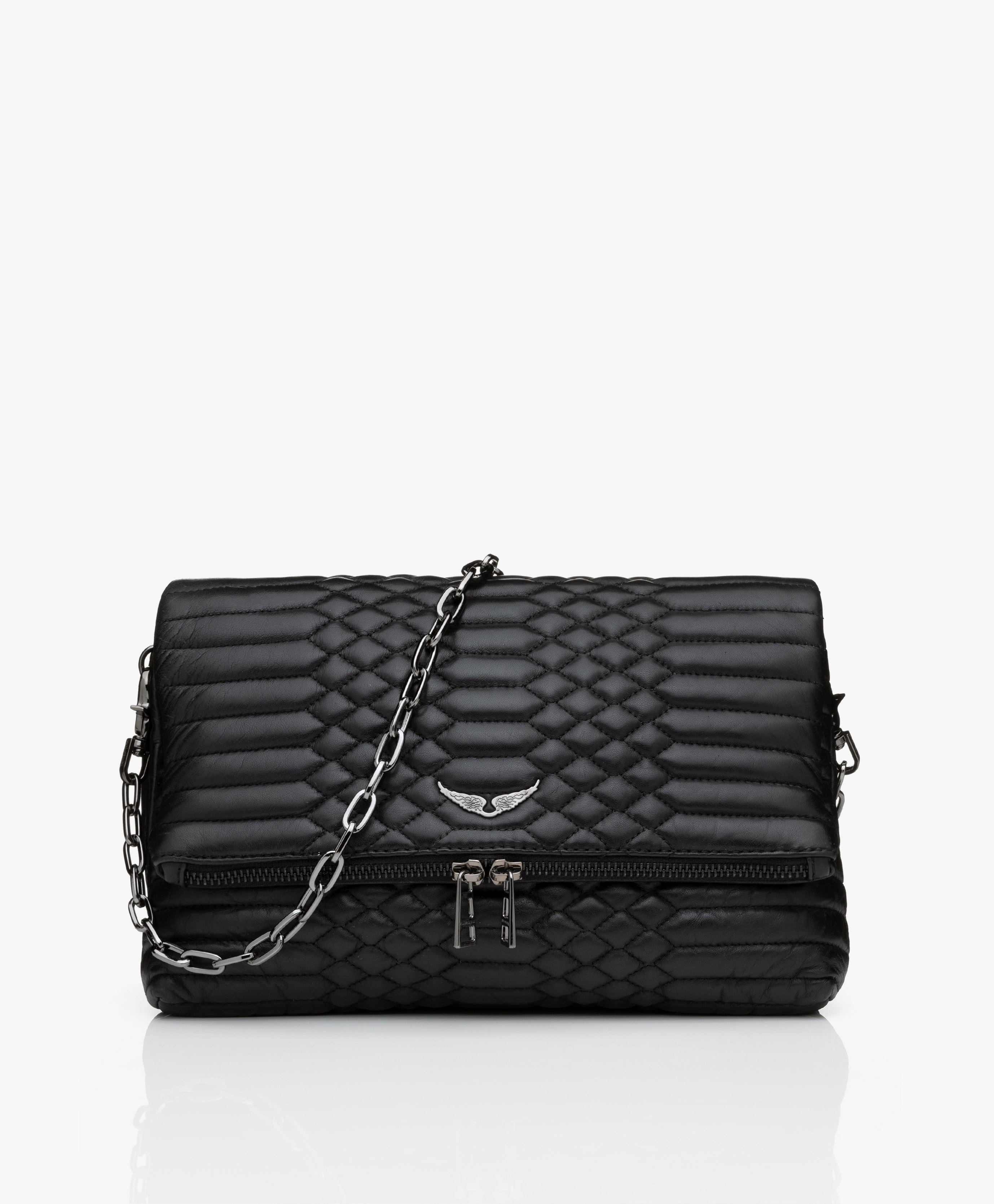 Zadig Voltaire Rocky Mat Lamb Skin Cross Body Shoulder Bag Black Rocky Mat Pwgab2006f Noir