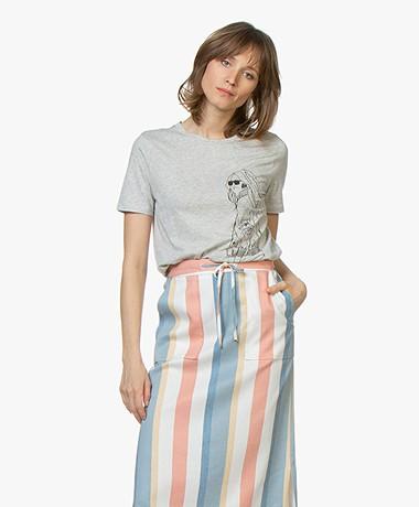 BOSS Teround Flock Print T-Shirt - Silver