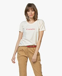 Vanessa Bruno Cotton Ccreative T-shirt - Cream/Red