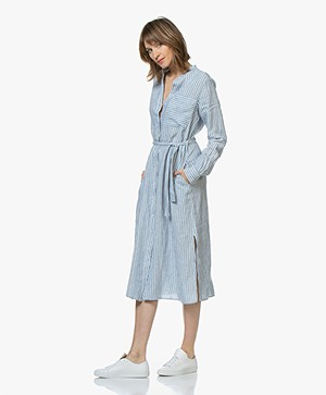 BOSS Camona Striped Linen Shirt Dress - Bright Blue