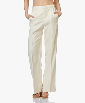 BOSS Sulotte Linen Blend Wide Leg Pants - Open White
