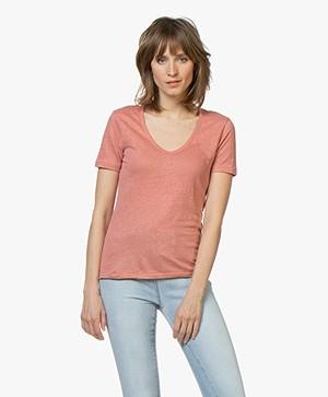 Closed Linnen V-hals T-shirt - Sepia Rose