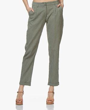 indi & cold Striped Mousseline Pants - Khaki