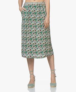 La Petite Française Johnny Printed Crepe Skirt - Paon