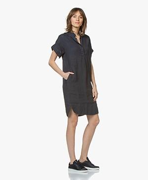 LaSalle Linen Shirt Dress - Navy