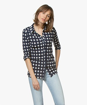 LaSalle Tech Jersey Blouse with Print  - Navy