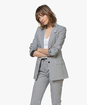 HUGO Adessi Striped Blazer - Dark Blue/White