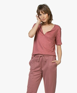 BY-BAR Loisa Linen T-shirt - Dark Wine
