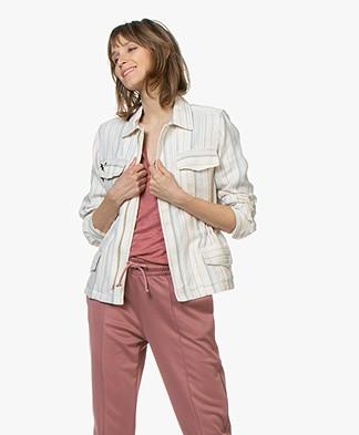 Zadig & Voltaire Kayak Raye Linen Blend Jacket - Ecru