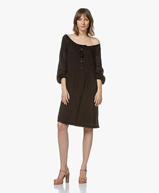 BRAEZ Voile Dress with Drawstring Closure - Black