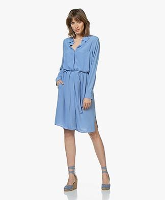 BRAEZ Viscose Crepe Shirt Dress - Bright Blue