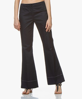 By Malene Birger Cotton Pants with Flared Legs - Night Sky