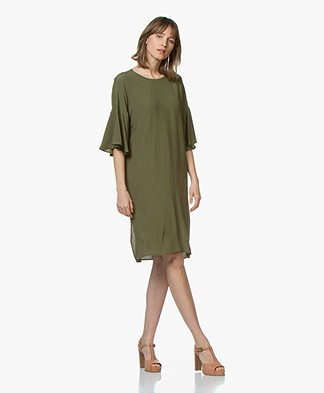 Closed Penelope Crepe Dress with Ruffle Sleeves - Jungle