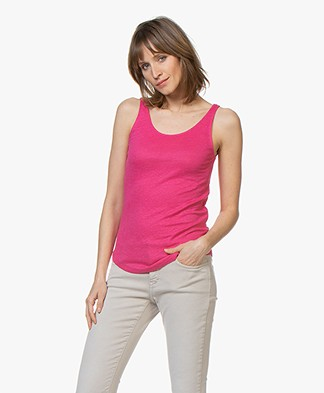 Closed Linen Tank Top - Magenta
