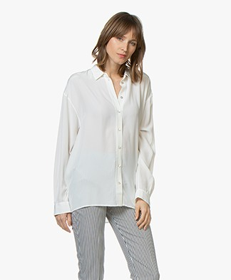 BOSS Ecluni Silk Blouse - Open White