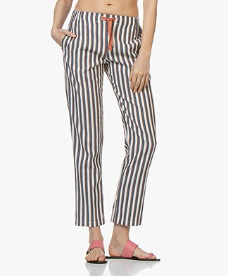 indi & cold Striped Cotton Pants - Marino