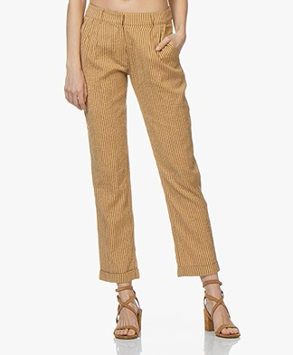 indi & cold Striped Mousseline Pants - Ochre Yellow