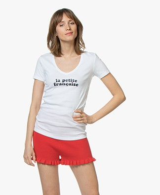 La Petite Française Thibault Logo T-Shirt - Wit