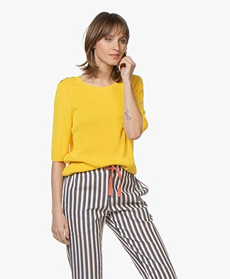 Sibin/Linnebjerg Sarno Rib Half Sleeve Pullover - Yellow