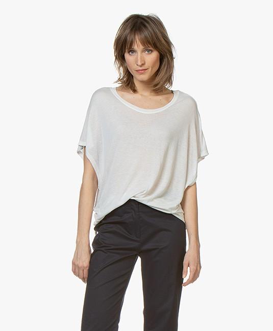 Fine Edge Oversized Wool Blend T-shirt - Silver Grey - ft03-0014