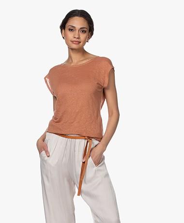 forte_forte Linnen Jersey T-shirt met Knoopdetail - Terra