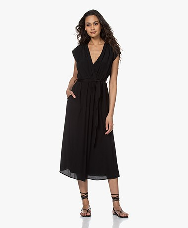 Pomandère Crinkled Viscose Midi Dress - Black