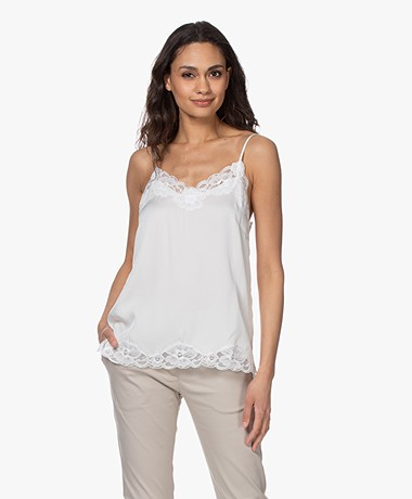 Repeat Silk Blend Top with Lace - Cream