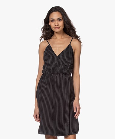 Marie Sixtine Noemie Striped Cupro Dress - Charbon