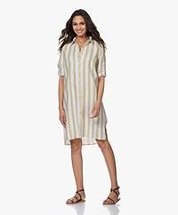 Josephine & Co Babs Striped Linen Shirt Dress - Coffee