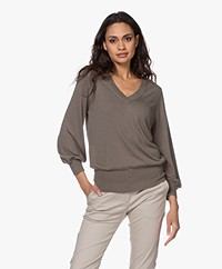 Repeat Fine Knitted Cashmere Sweater - Khaki