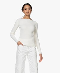 Woman By Earn Rory Cotton Boatneck Sweater - White