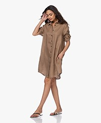 Resort Finest Monica Linen Shirt Dress - Camel