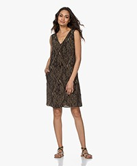 Drykorn Lania Cupro Mix Snake Print Dress - Army/Black