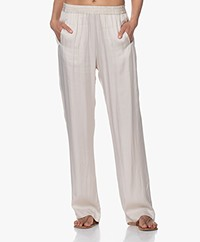 no man's land Satin Straight Leg Trousers - Linen