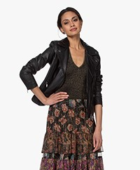 Repeat Luxury Leather Biker Jacket - Black