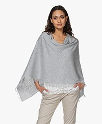 Repeat Fine Knit Cotton Blend Poncho - Grey