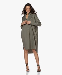 Woman by Earn Wies Stretch Cotton Blend Shirt Dress - Army