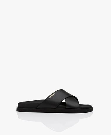 Copenhagen Studios Leather Slippers - Black