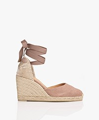Castaner Carina 10cm Canvas Wedge Espadrilles - Dusty Pink