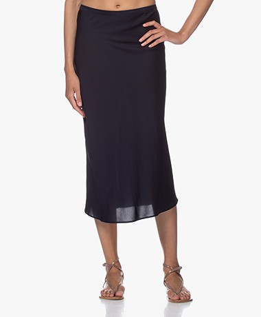 Repeat Silk Bias-cut Midi Skirt - Navy