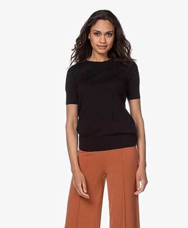 Plein Publique La Femme Pointelle Short Sleeve Pullover - Zwart