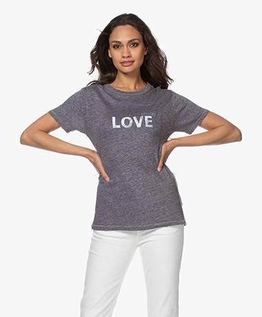 Zadig & Voltaire Amber Linnenmix Print T-shirt - Myrtille