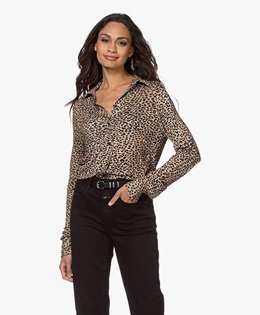 Ragdoll LA Leopard Jersey Blouse - Brown/Black