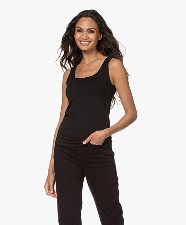 no man's land Viscose Jersey Double Layered U-neck Top - Core Black