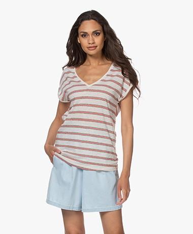 by-bar Mila Striped Linen Blend T-shirt - Pepper