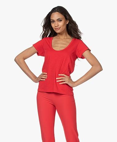 Rag & Bone The Slub U-neck T-shirt - True Red